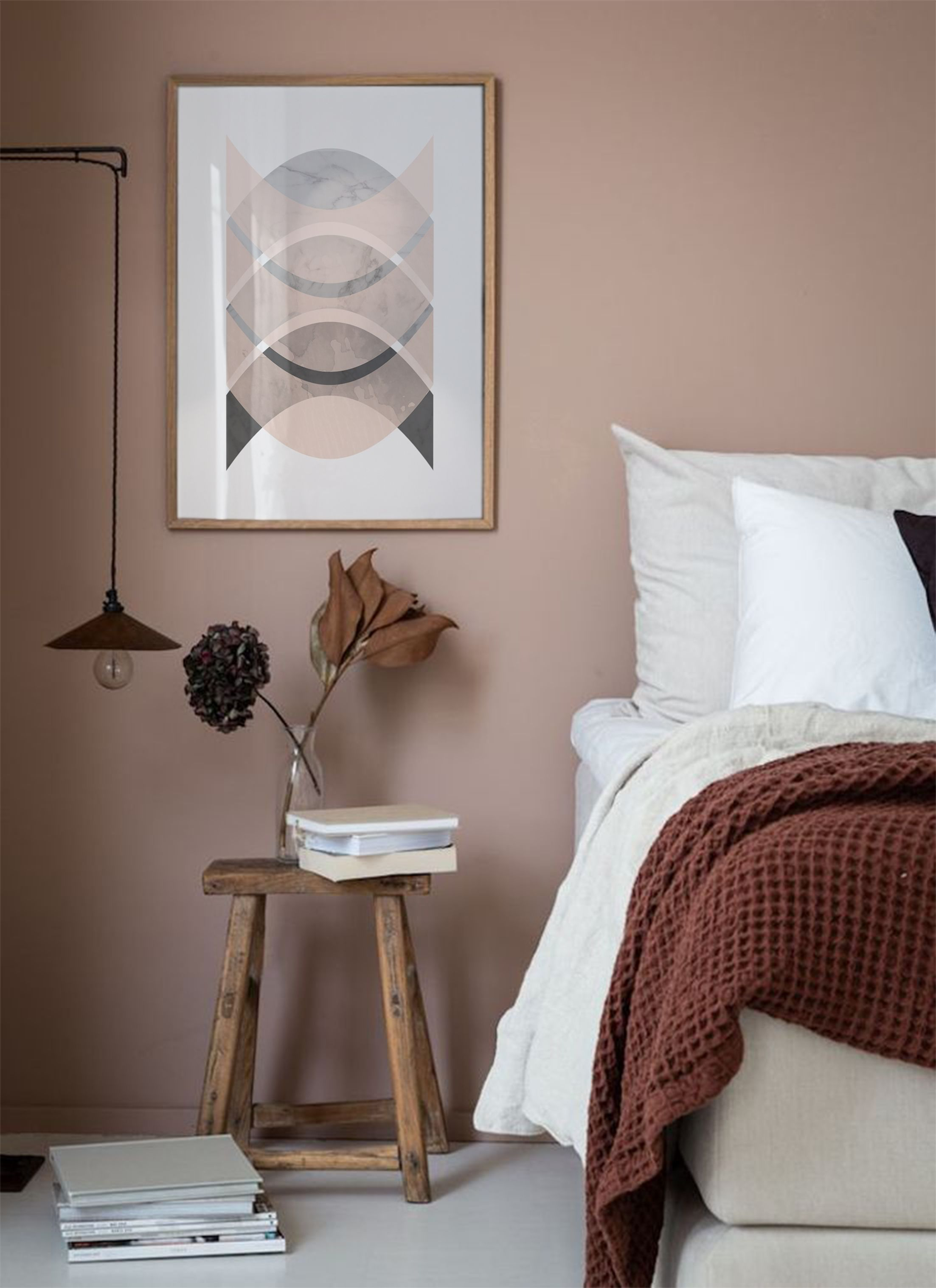 Photo of Minimalistischer Kunstdruck, rosa und grauer Druck, abstrakte Drucke, Wanddekoration, …