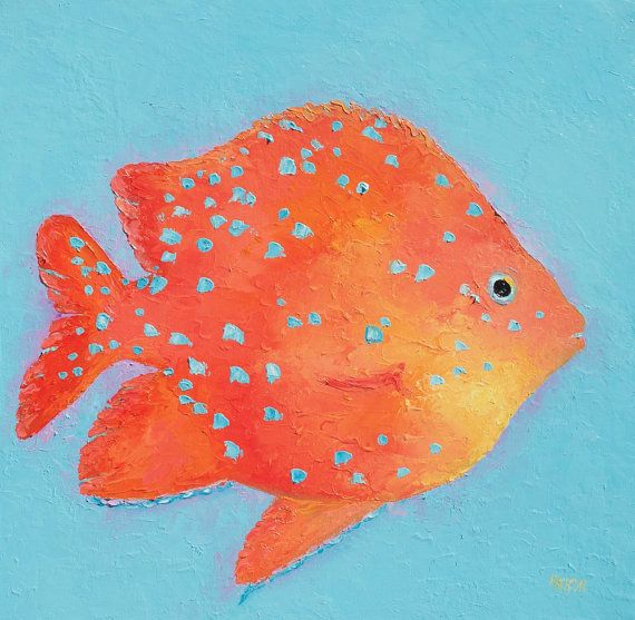 Fish painting bathroom art canvas art tropical fish for Fish tank paint