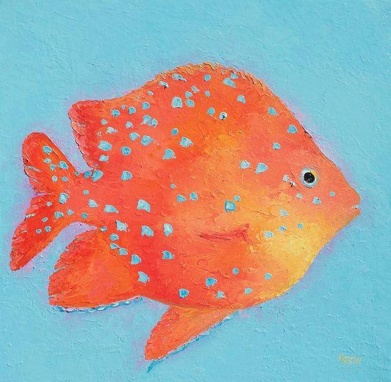 Fish Painting, Bathroom Art, Canvas Art, Tropical Fish, Bathroom Decor,  Aquarium Fish, Beach Cottage Decor, Coastal Decor, Kitchen Art