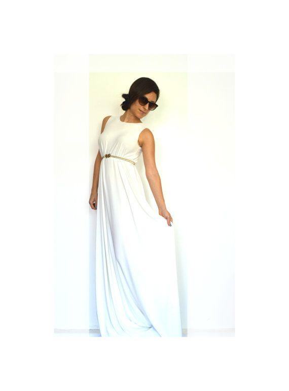 Hochzeit Kleid, weiß Maxi Boho Kleid, weißen Hochzeitskleid, Boho ...