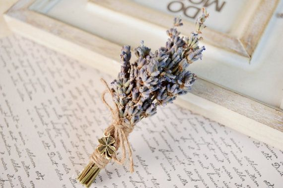 Lavender Boutonniere Dried flower boutonniere Rustic by LumilinA