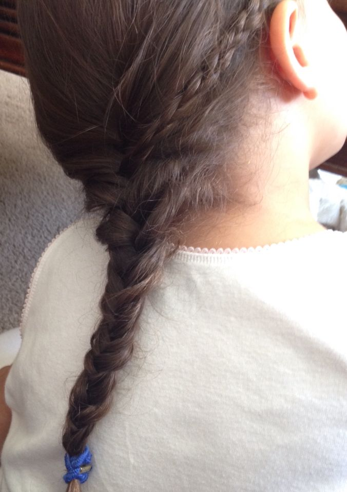 Cute hairstyle for little girls. Braid into a fishtail. Only took about 5-7 min.