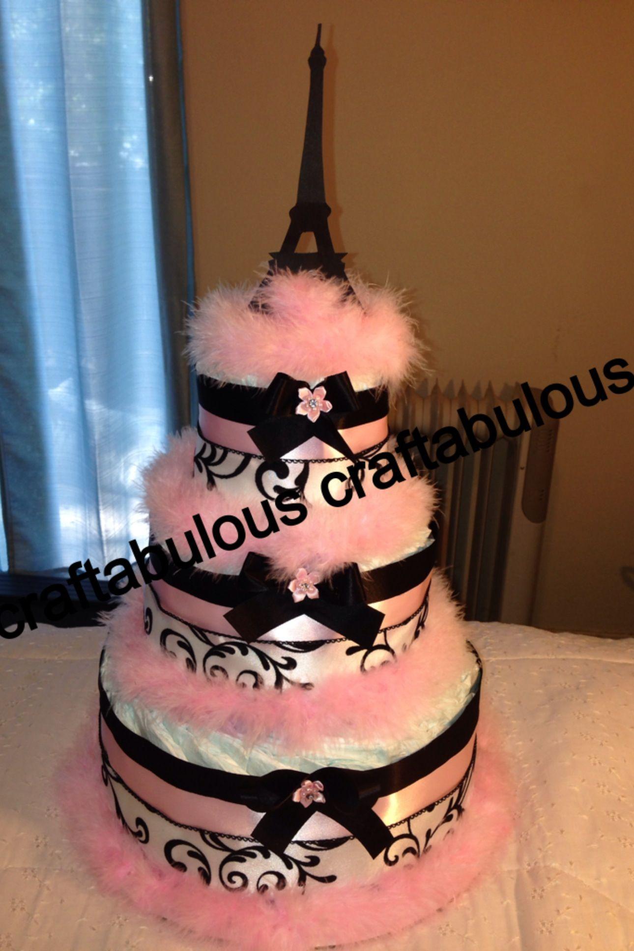 Paris Themed Diaper Cake #diapercake #paristheme #babyshower #girlbabyshower