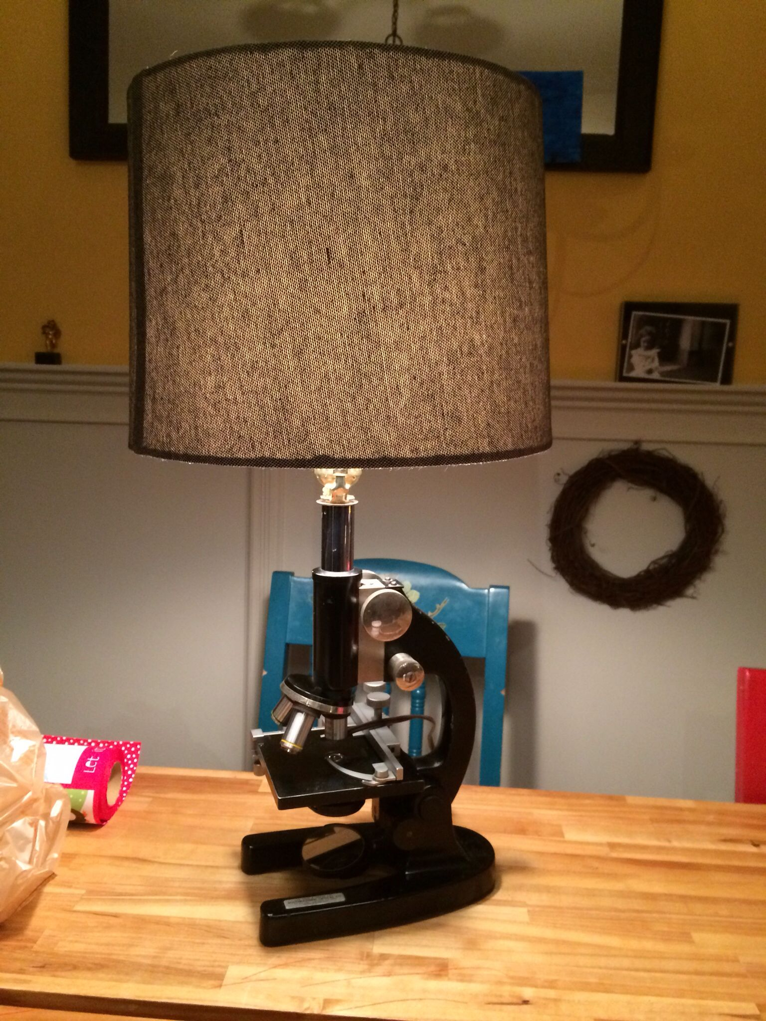 Lamp made from vintage microscope