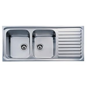 teka stainless steel double bowl kitchen sink with drain board-119