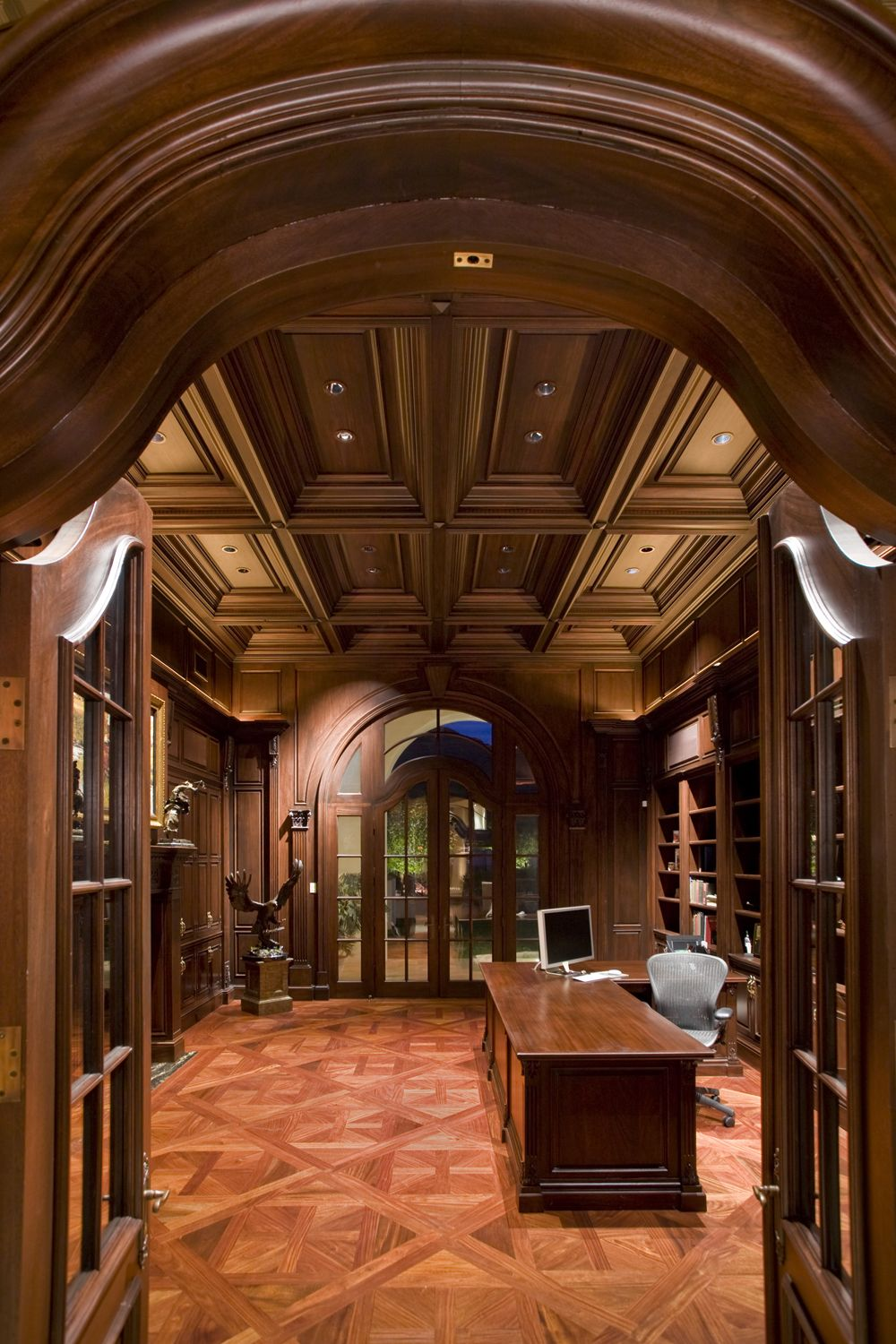 Luxury Home Library Design: Coffered Ceiling And Rich Woods Create An Extraordinary