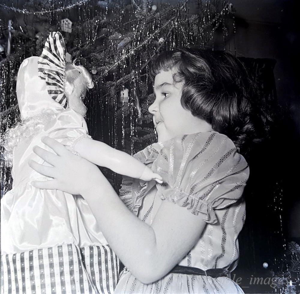 1950's Chubby Face Little Girl Doll Christmas Tree Photo B&W Negative