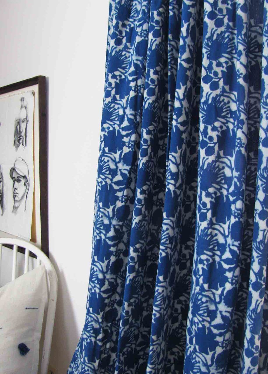 Blue Flowers Floral Curtains Chic Home Decor Blue Window Curtains