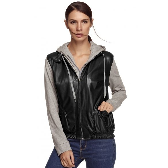 Meaneor Stylish Ladies Women Casual PU Leather Patchwork Coat Jacket Hooded Outerwear Detachable Zipper Hoodie_Jackets / Blazers_Women_Women's Fashion Zone & Best Price Clothes