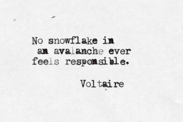 """No snowflake in an avalanche ever feels responsible.""~~Voltaire"