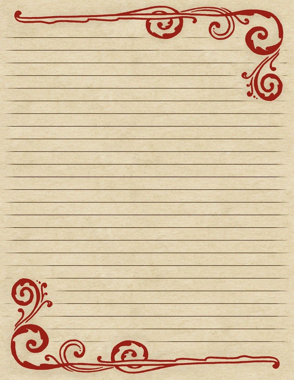lilac & lavender: swirling border & lined paper   briefpapier