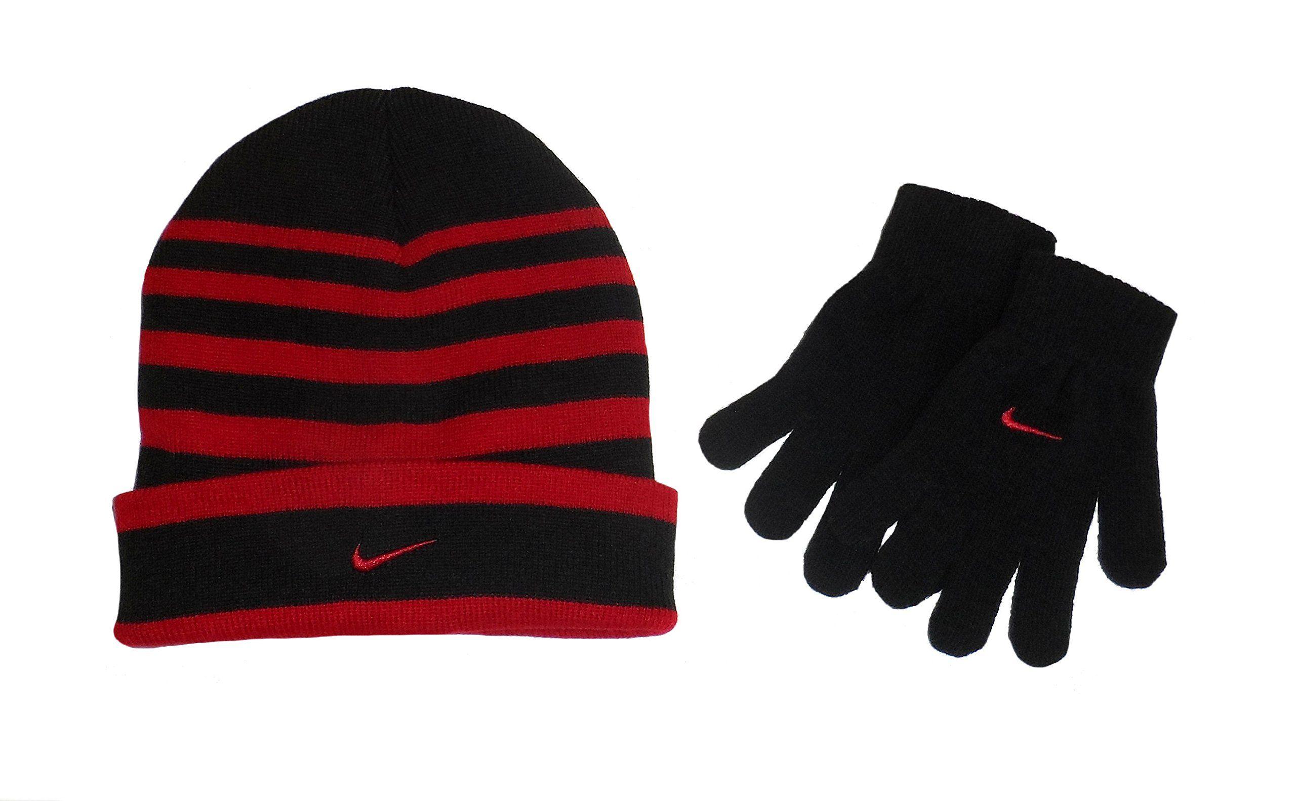 afe276b9 Nike Swoosh Cuff Style Striped Knit Beanie Skull Cap & Gloves Set Boys 8/20