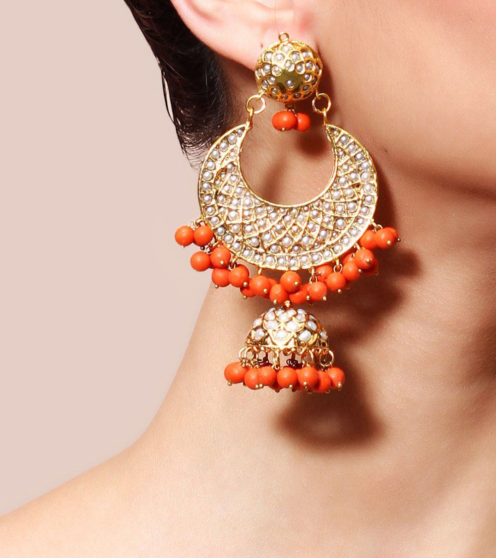 Online C And Golden Gold Plated Designer Earrings From Jivaana Earring Mango Closet The V Collection Jumkey Chooseberry