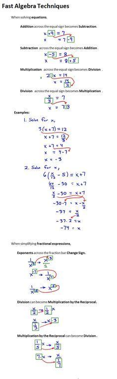 Fast Algebra Techniques | Student learning, Algebra and Math