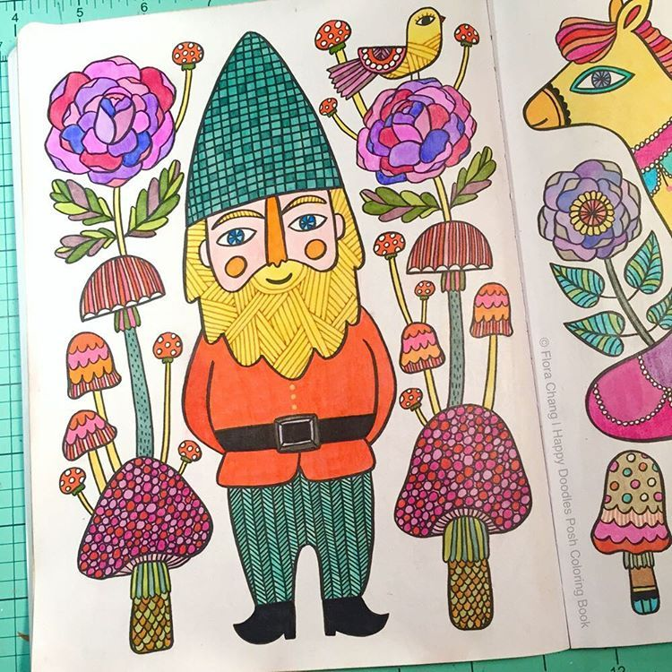 A Finished Coloring Page From Happy Doodles Posh Book By Flora Chang