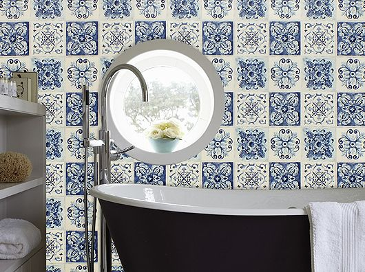 Moroccan Tile Effect In Blues Cream In 2018 Thats Clever