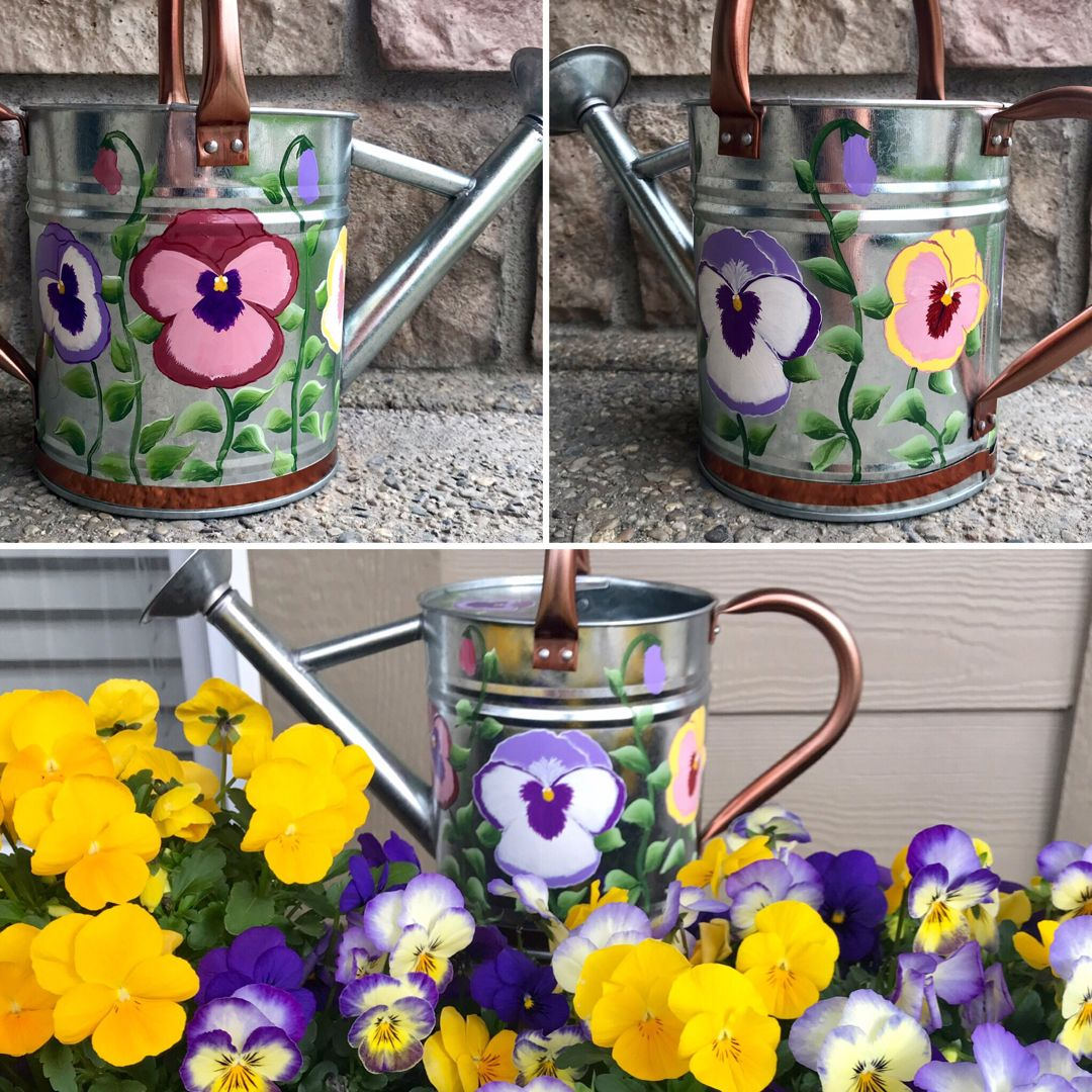 Pansy Garden Painted Watering Can Etsy In 2020 Pansy Garden Pansies Container Flowers