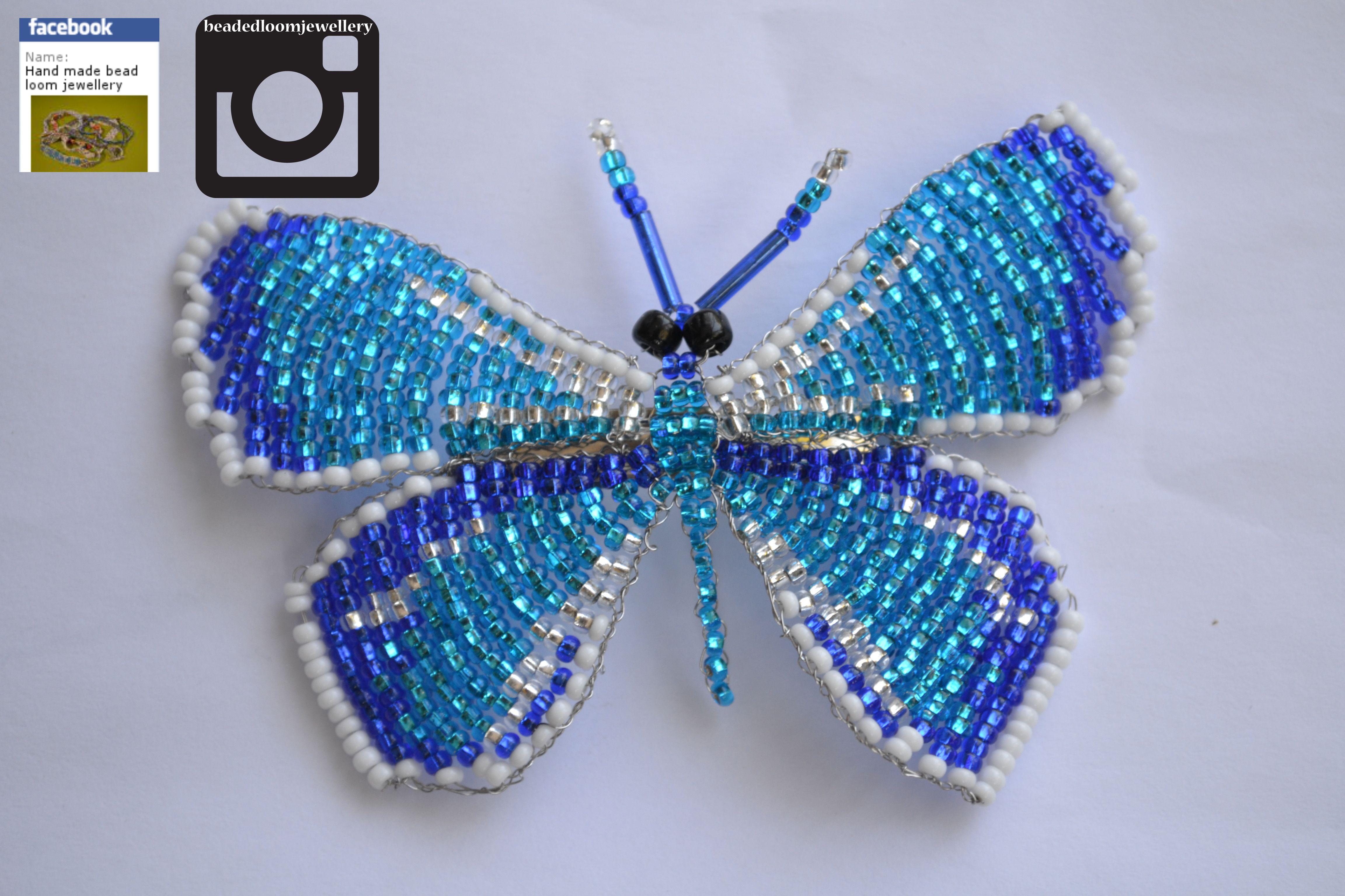 blue butterfly hair clip £6.50 order yours now! @ https://www.facebook.com/HandMadeBeadLoomJewellery #fashion #bracelet #jewellery #buy #handmade #round #3dbeading