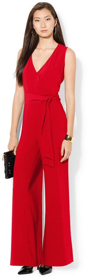 I never got so many compliments in one evening when I wore that to my mom's birthday party. Lauren Ralph Lauren red Sleeveless V Neck Belted Jumpsuit.