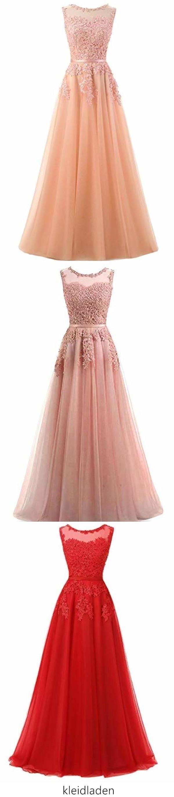 Schöne A-Line lange Spitze Tüll Reißverschluss Abendkleid