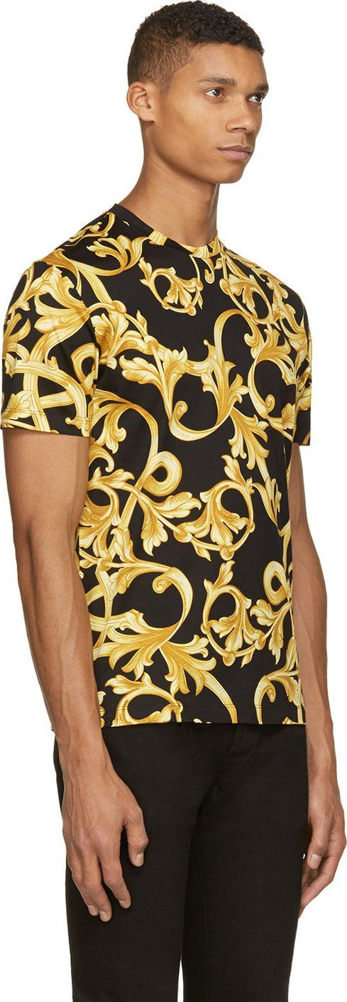Versace Black Gold Baroque T Shirt Versace T Shirt Versace Men Dolce Gabbana T Shirt