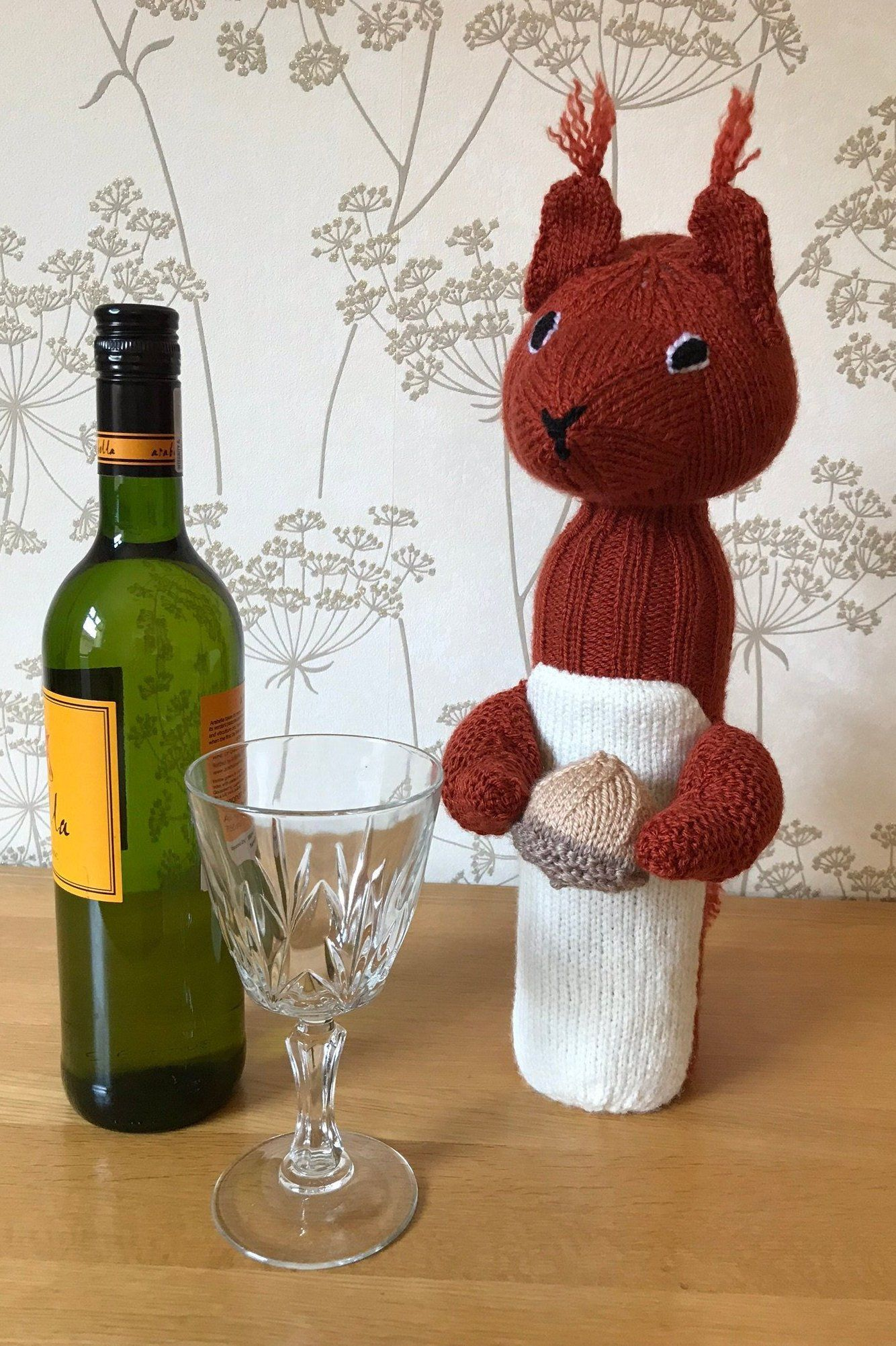 Squirrel Wine Bottle Cover Hand Knitted Etsy Wine Bottle Covers Bottle Cover Unusual Presents