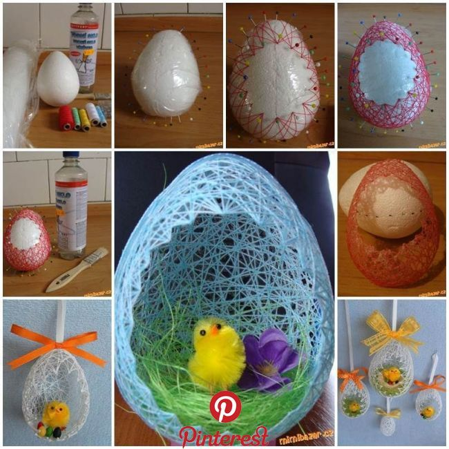 DIY Easter Egg Basket from Thread   Easter is coming! Have you started to make some Easter decorations for your home? Here is a super cute idea to make an egg shaped basket from thread. Instead of using a balloon as the mold, it uses an egg shaped Styrofoam ball. You may use different colors of..