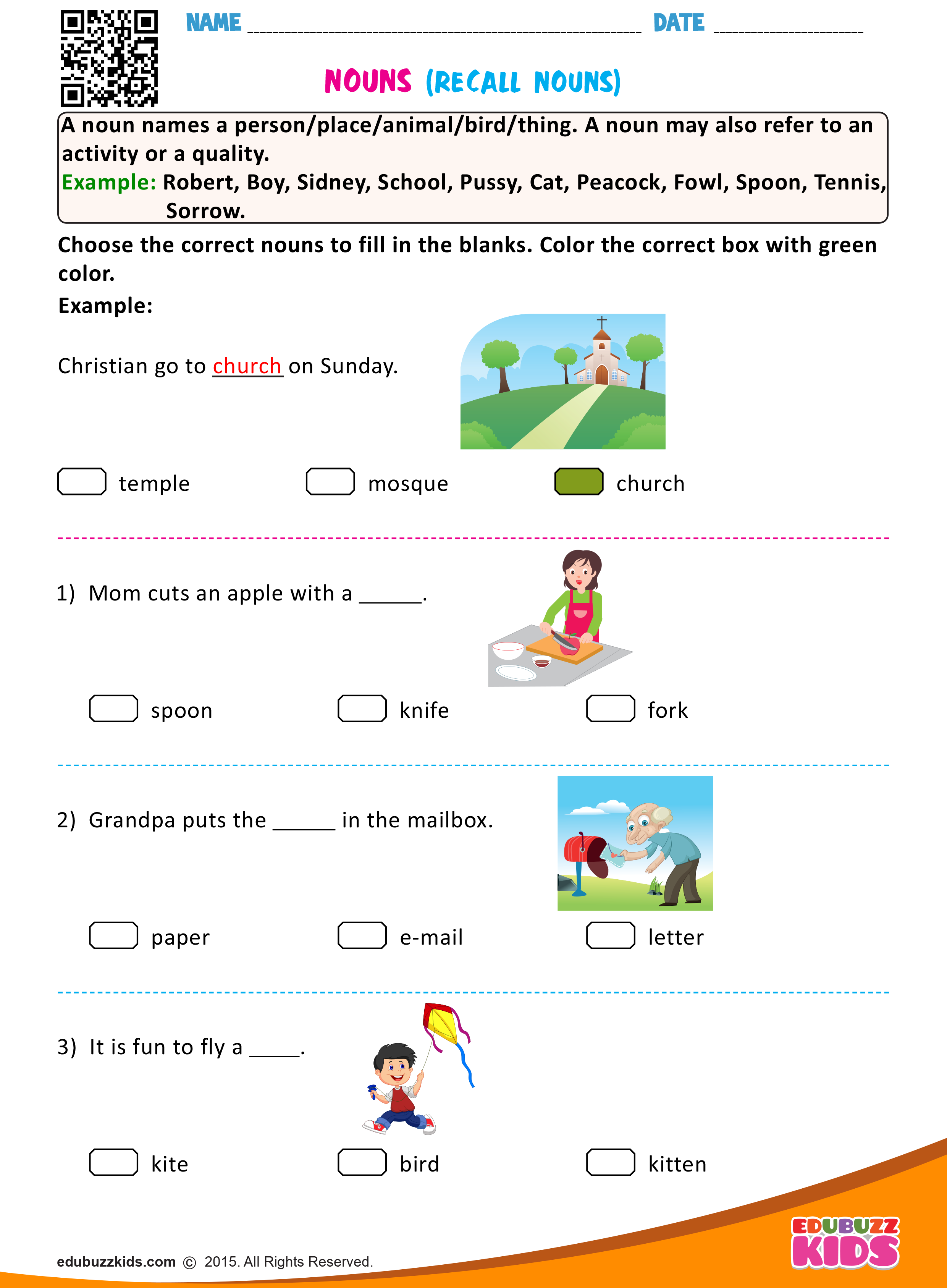 English Recall Nouns Worksheets With Printable Kids Can