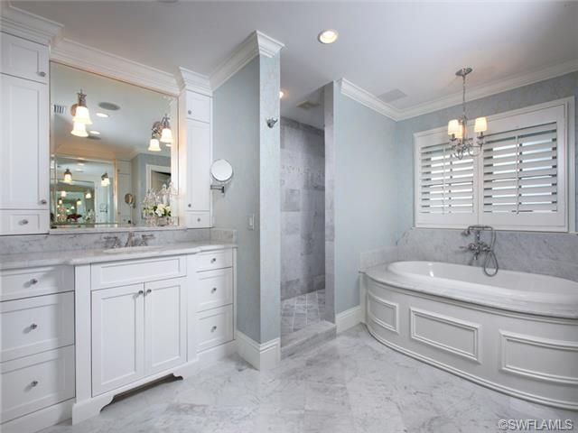 astounding light blue bathroom ideas | Aqualane Shores in Naples, FL | Powder blue bathroom with ...