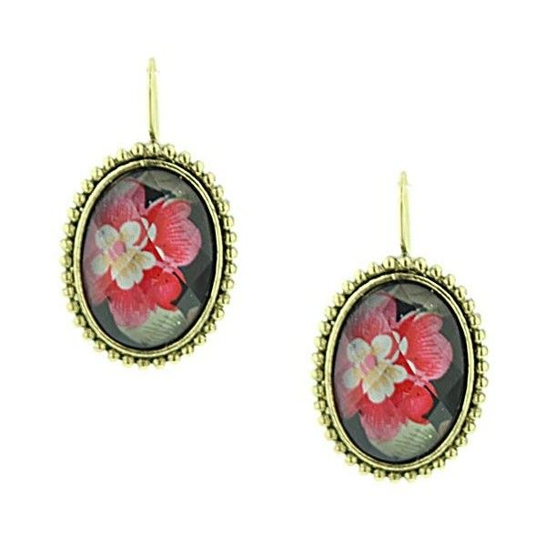 Halles Garden Pink Floral Drop Earrings ($11) ❤ liked on Polyvore featuring jewelry, earrings, pink, floral drop earrings, 1928 earrings, stained glass earrings, drop earrings and flower jewellery