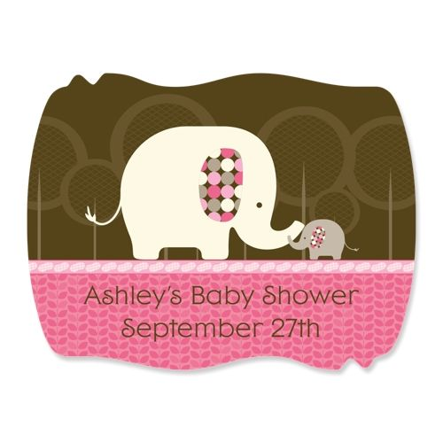 pink baby elephant 16 squiggle personalized baby shower sticker