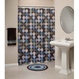 Brown And Blue Fabric Shower Curtain HOME IDEAS Pinterest.