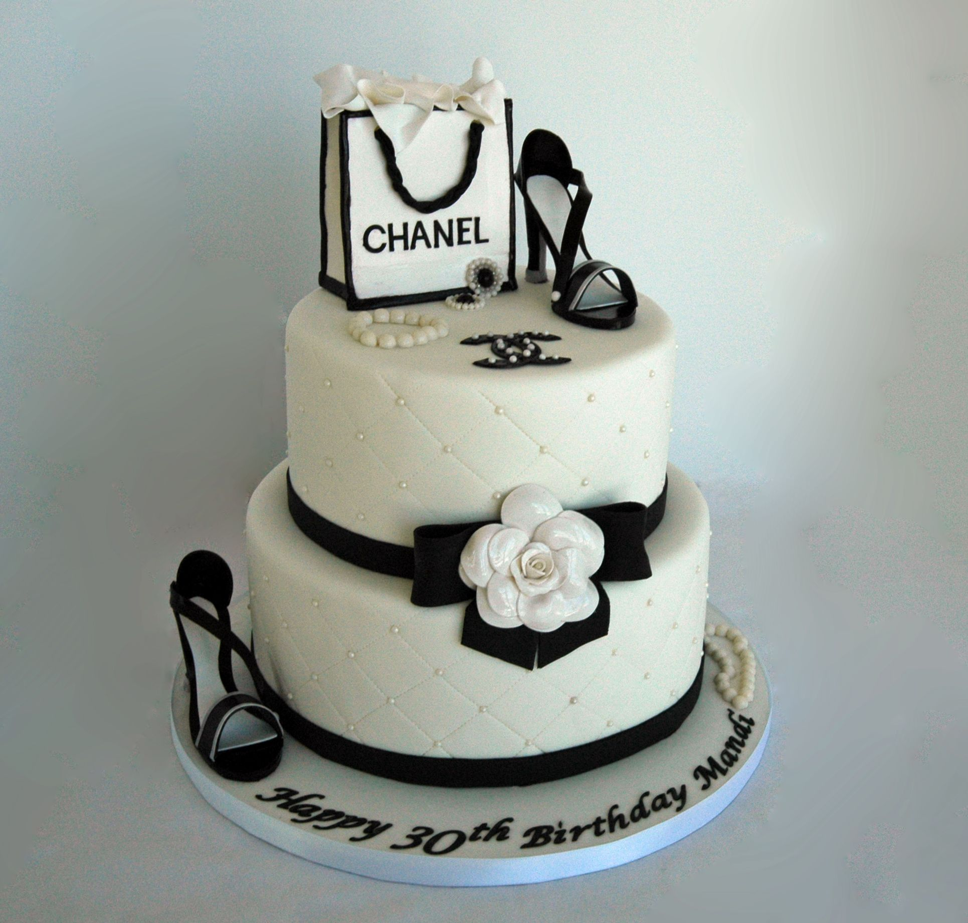 Chanel Cake Ideas: Chanel Theme Fondant Birthday Cake With Gumpaste Shoes