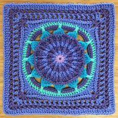 "Prince Protea Square (12"") Pattern by Virginia Burrow & Dedri Uys. This one by Virginia, love these colours too."