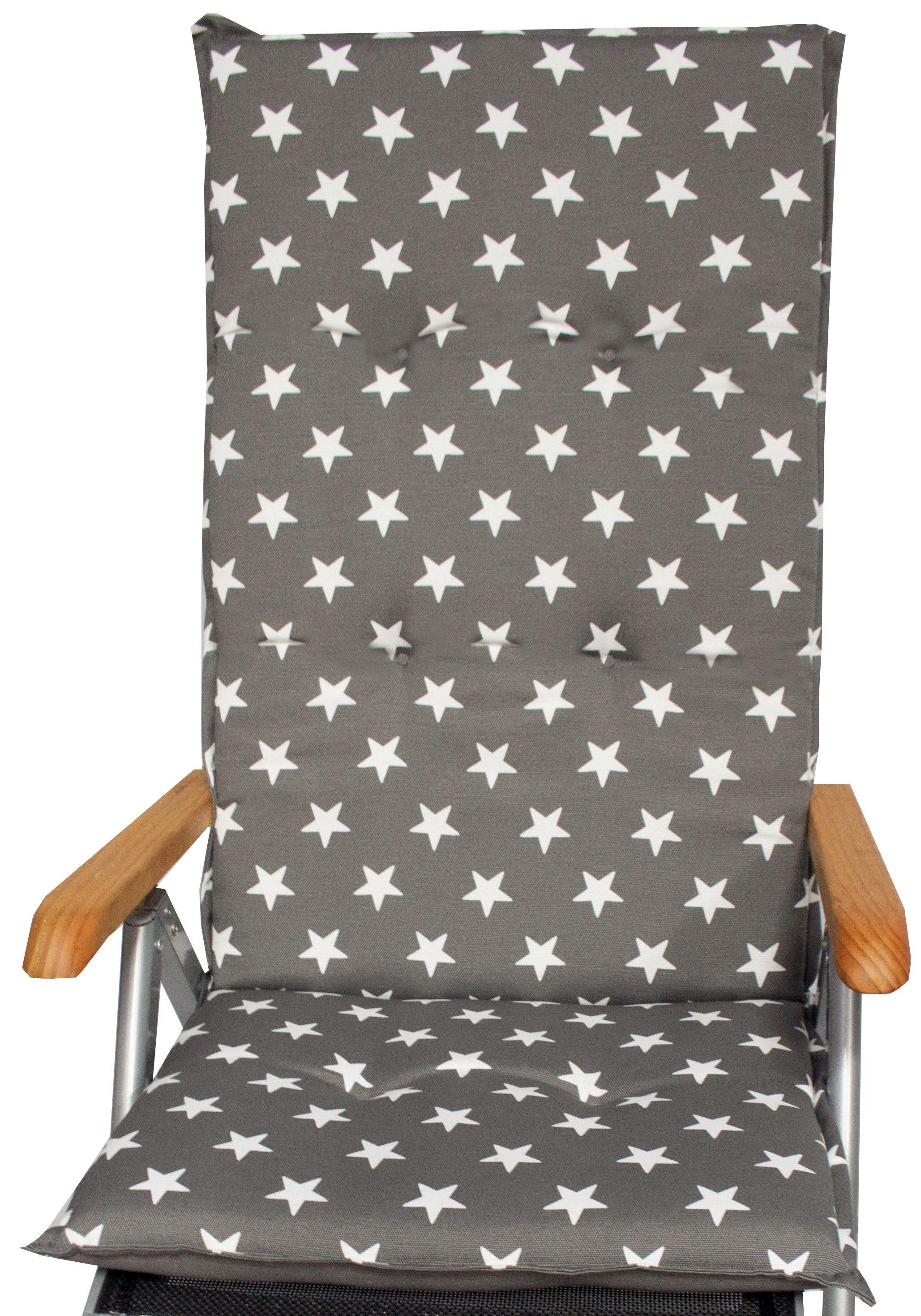 Sterne Weiss Gartenstuhlauflage Fur Hochlehner In Grau Lounge Kissen Gartenstuhle Gartenmobel
