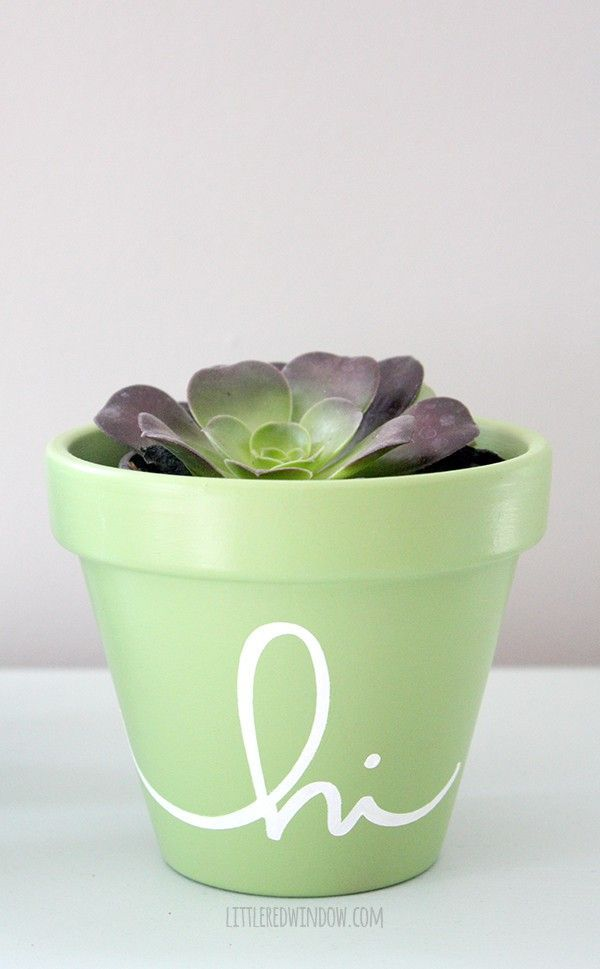 Hello There Stenciled Flower Pots - Little Red Window