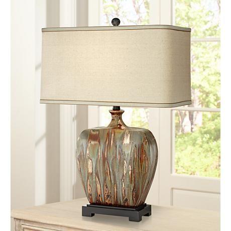 Julius Copper Drip Finish Ceramic Table Lamp 8j096 Lamps Plus Table Lamp Lamp Contemporary Table Lamps