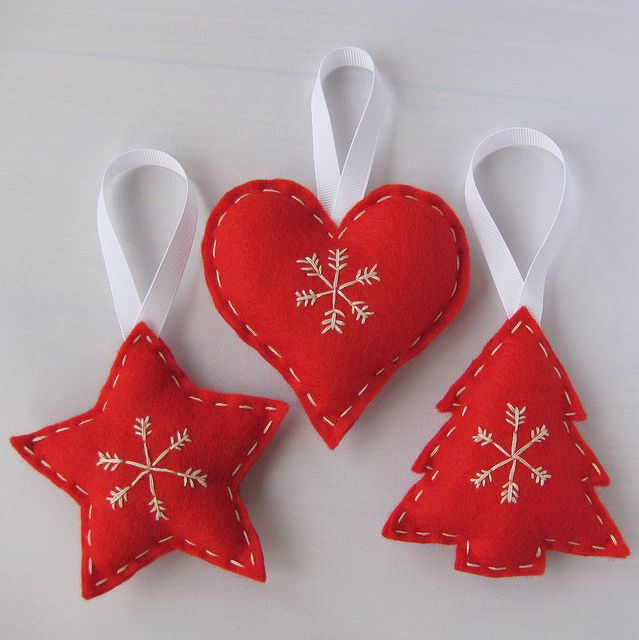 Red Felt Scandinavian Christmas Hanging Decorations Handmade