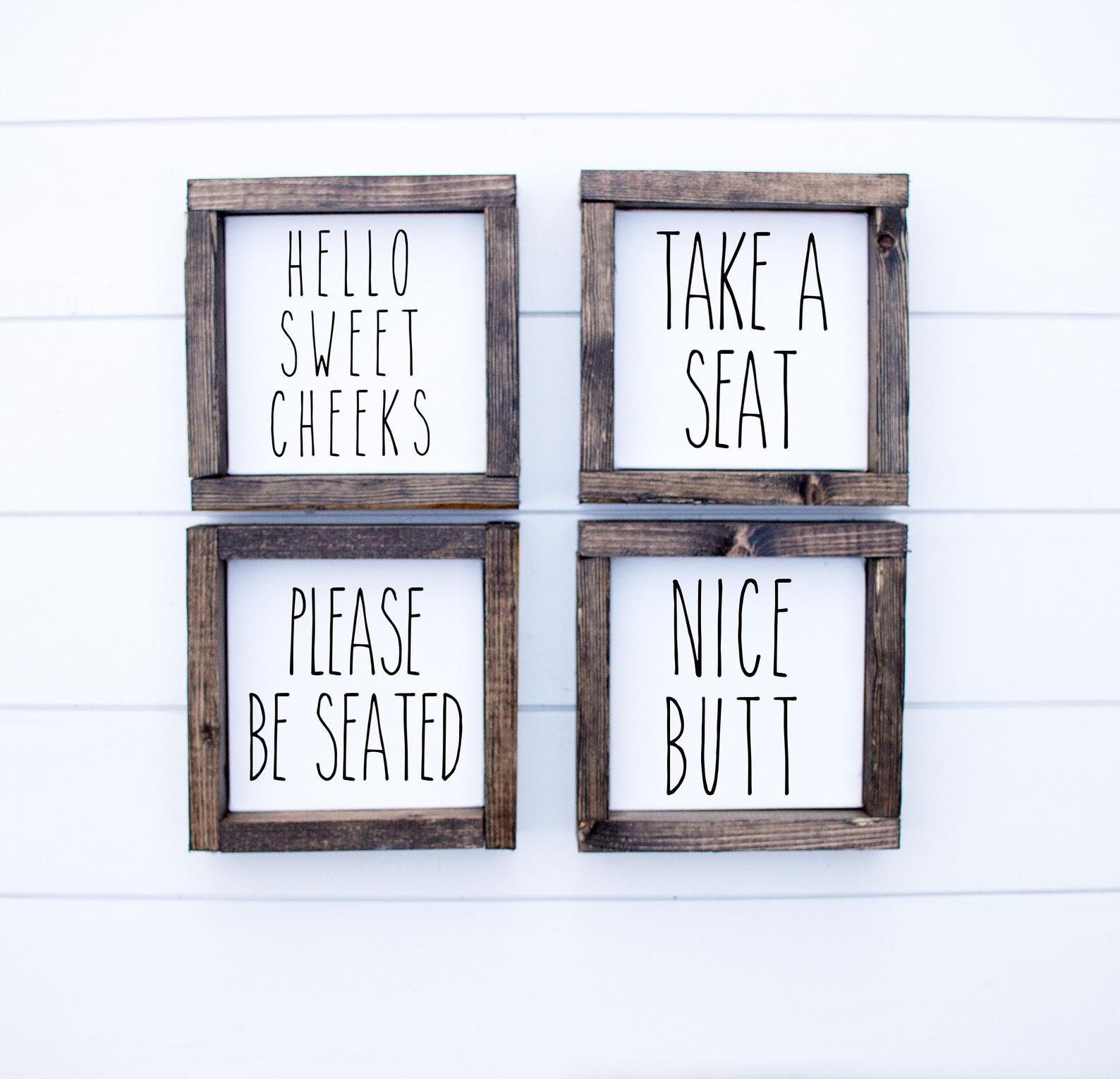 Tiny Funny Bathroom sign Bathroom Humor Mini Signs | Etsy ...