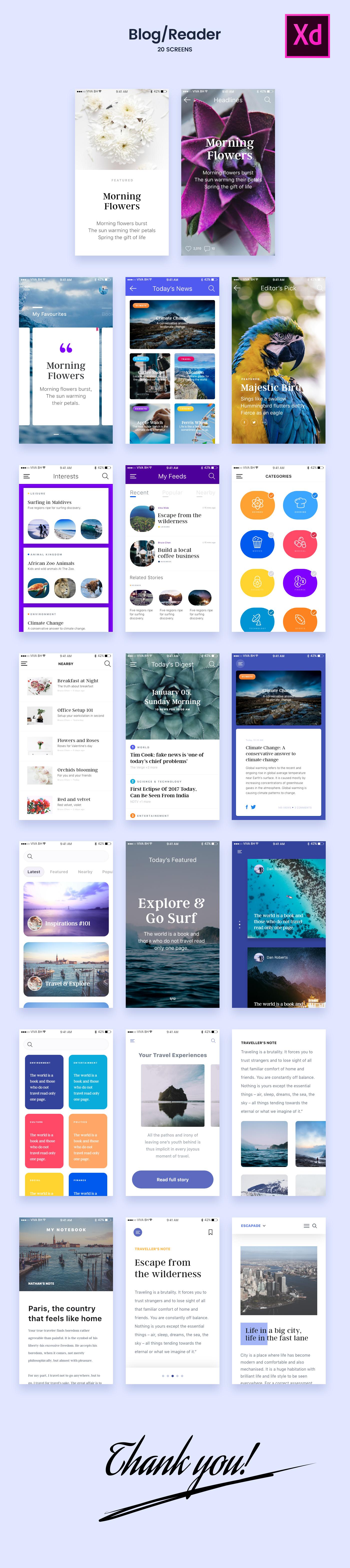 다음 @Behance 프로젝트 확인: \u201cFreebie - 20 Blog/Reader Screens for Adobe Xd\u201d https://www.behance.net/gallery/48716491/Freebie-20-BlogReader-Screens-for-Adobe-Xd
