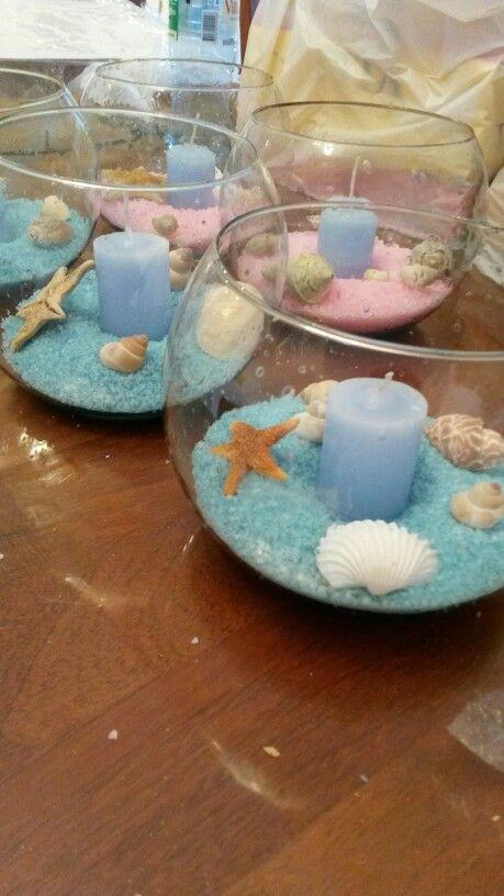 Centros de mesa marinos cumple pinterest fiesta mar - Peceras pequenas decoradas ...