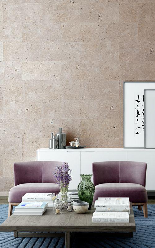 Schickes Wohnzimmer Und Blauer Teppich Wand In Sandsteinoptik Mit Der Planeo Wandverkleidung Travertin Mehr