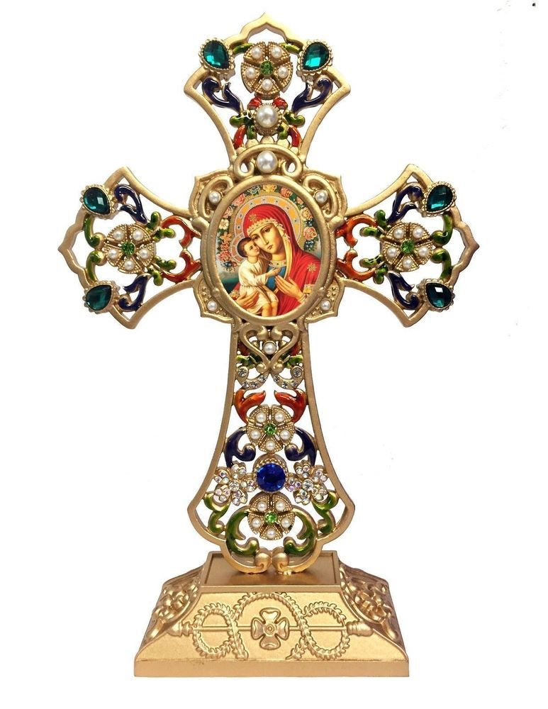 Standing Jeweled Cross With Icon Madonna And Child Christ Religious