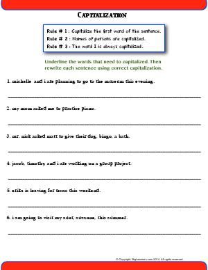 Worksheet | Capitalization | Practice three rules of ...