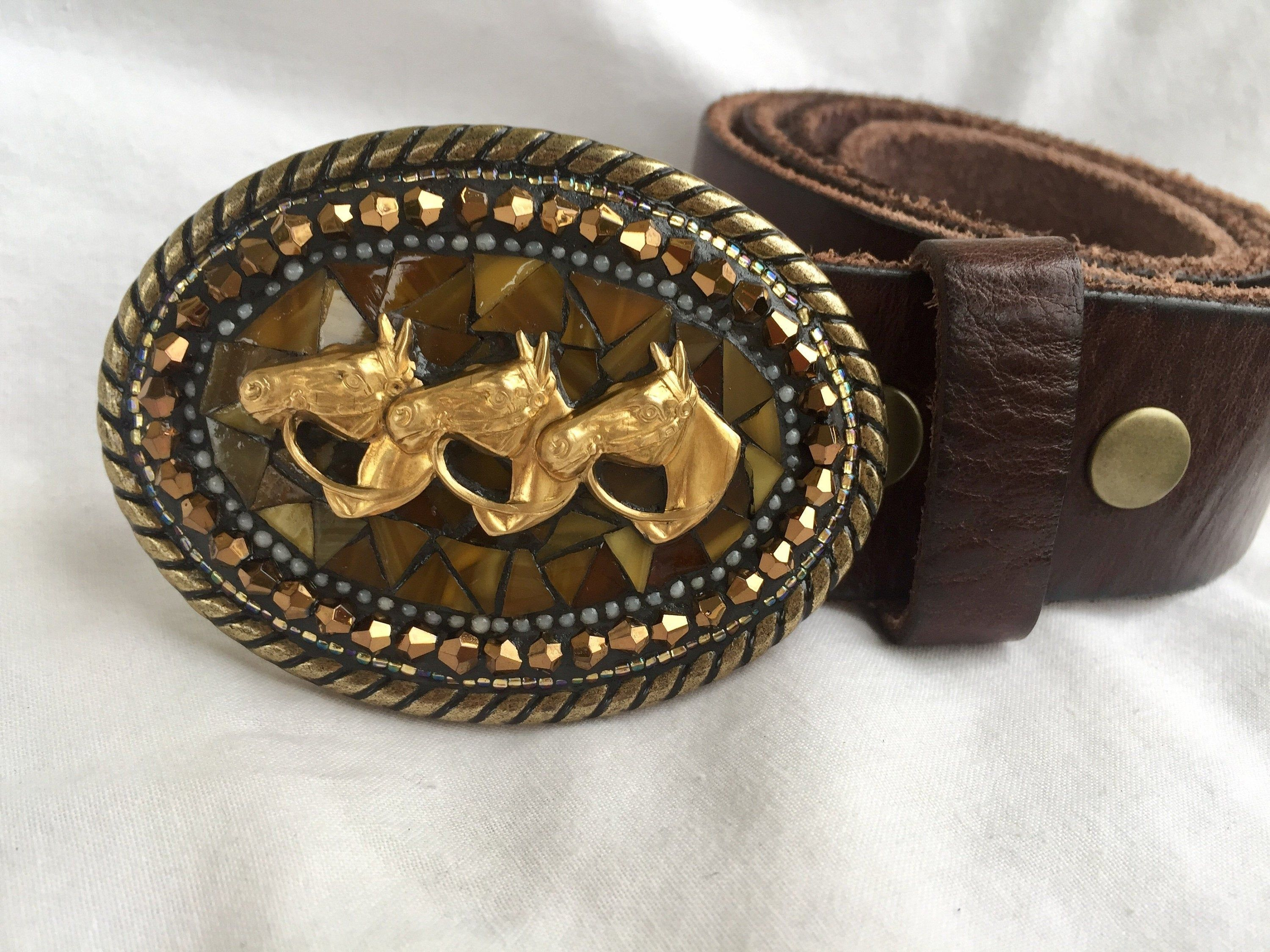 Brass Belt Buckle with Black Background and Horse Horse Brass Buckle