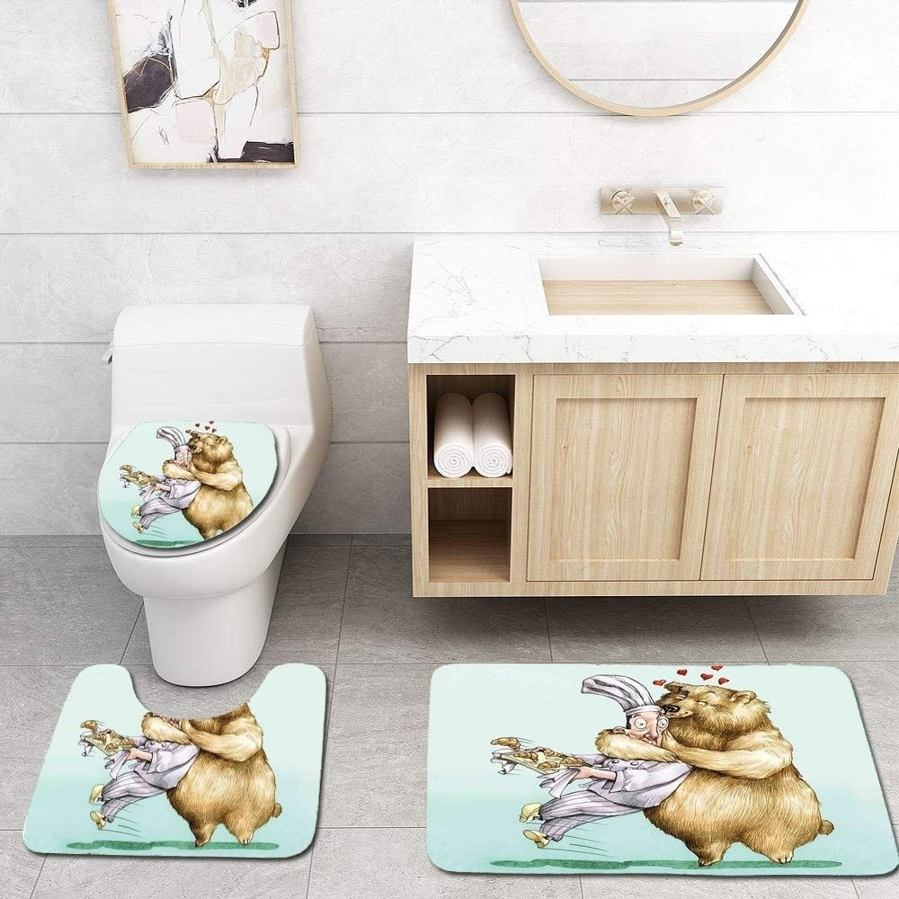 Cartoon Big Bear Fully Hugs Pastry Love Humor Satire Romance Theme Artful Cream 3 PCS Bath Rug Contour Mat Toilet Lid Cover Materian: Flannel Top,Non-Slip Backing.          Size :  3 Piece Bath Mat Set included:   1 x Bath Mat: 18x30 inch/45x75 cm,    1 x Contour Mat: 18x14 inch/45x35 cm,  1 x Toilet Lid Cover: 18x14.7 inch/45x37.5 cm.         Easy to clean, can be directly washed by washing machine or hands, not shed and fade.      Nice Gift for your Friend and Family.