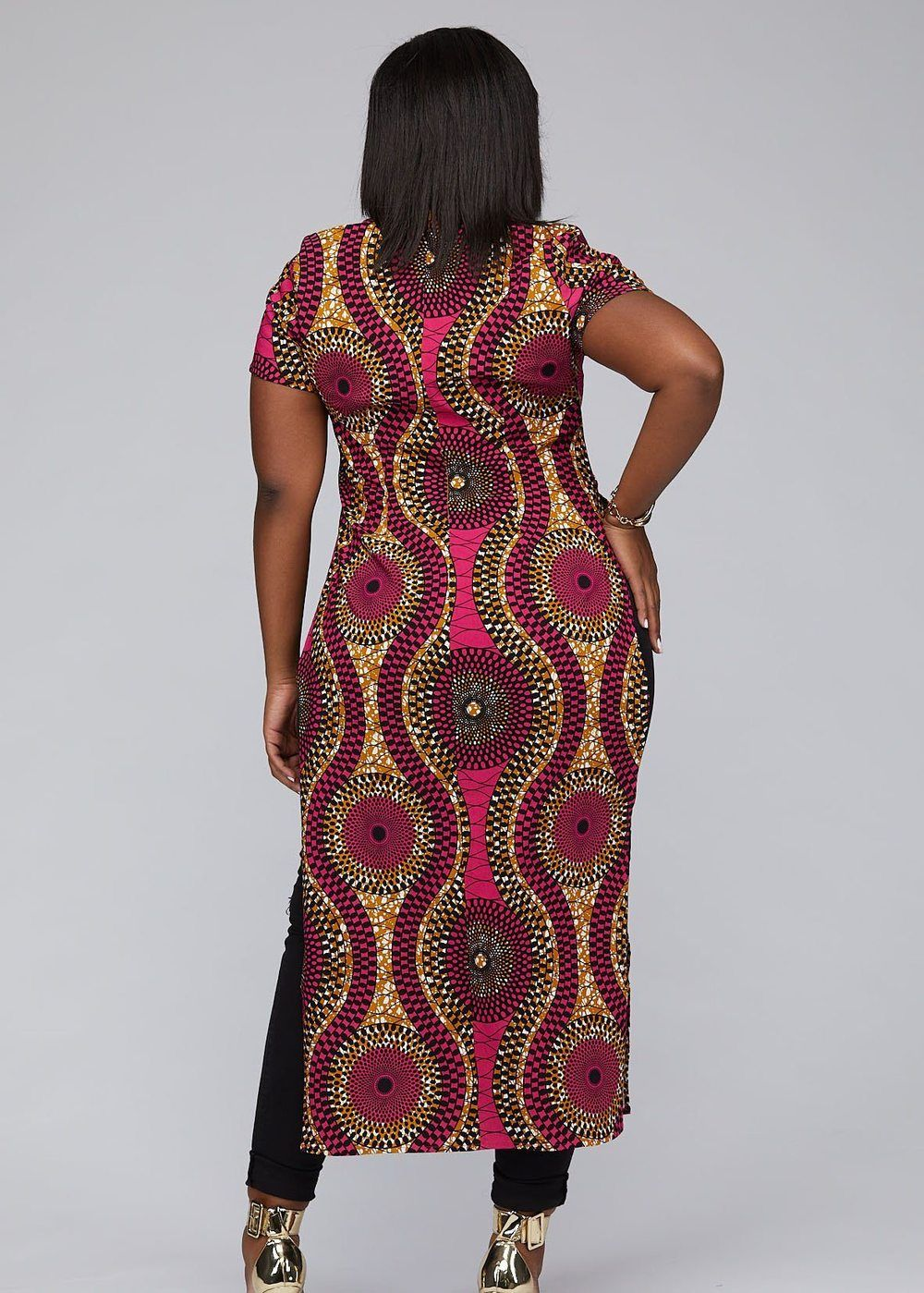Eshe African Print Stretch Maxi Tee with Side Slits (Pink Golden Circles)