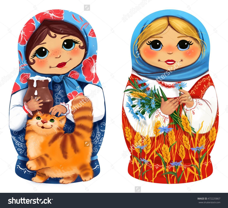 two pretty matryoshka dolls nesting dolls on a white background
