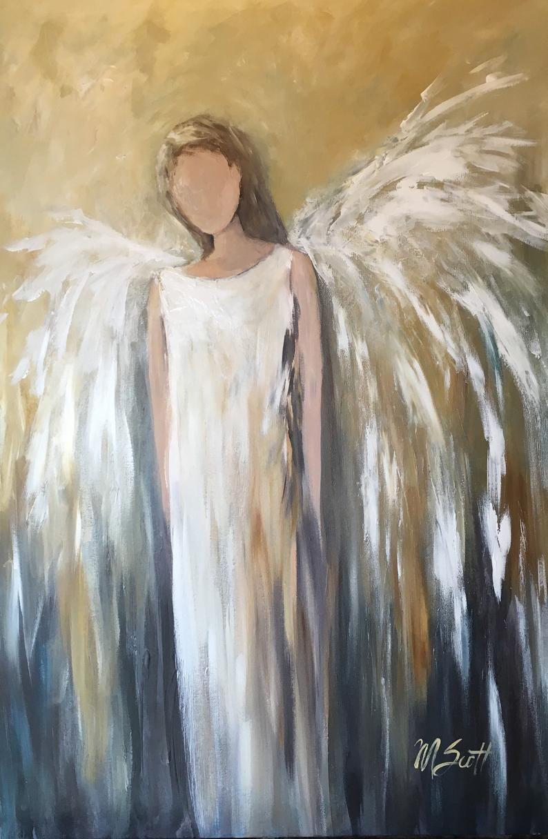 Christmas Custom Angel Painting Abstract Angel Etsy In 2021 Angel Painting Christmas Paintings On Canvas Christmas Paintings