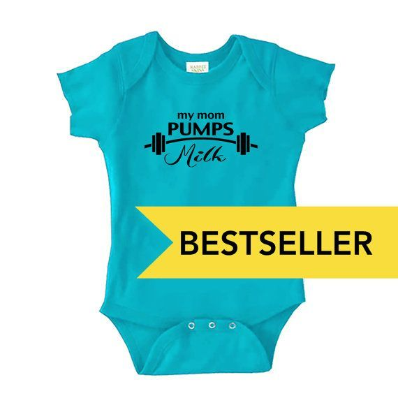Mom Pumps Milk Onesie - Bestseller - Pro-Breastfeeding Cute, Funny and Supportive Outfit for Babies, Infants, Toddlers